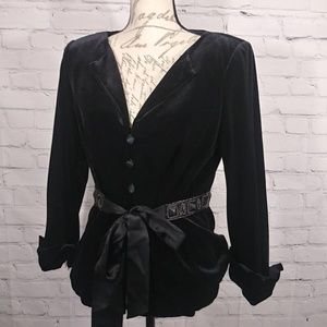 Adrianna Papell Boutique Black Velvet Jacket Beads